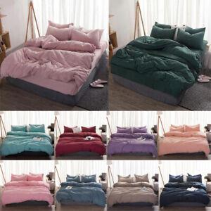 Soft Quilt Duvet Cover Washes Cotton Flat Sheet Pillow Case Bedding Sets 3/4Pcs
