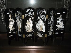 Vietnamese Vintage Miniature Wall w/ Pearl Wise Men, Dragons & Goldfish - RARE!