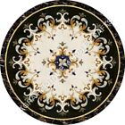 """48"""" Italian Marble Black marble Round Dining Table Top Mosaic Inlay Decor H4994A"""