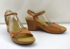 Dansko Tan Leather Open Toe Ankle Strap Wedge Heel Sandals-Women's 41 EU 9.5 US