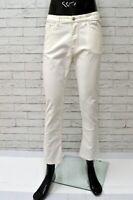 Pantalone REFRIGIWEAR Uomo Taglia 40 Jeans Corto Gamba Dritta Elastico Bianco