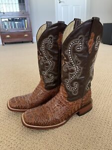 Ferrini Mens Black Barbed Wire Leather S-Toe Cowboy Boots 10.5D