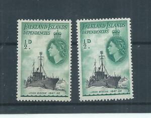 Falkland Islands stamps.  Dependencies. 1954 QEII 1/2d both colours MH.  (P964)