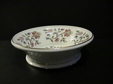 Minton Haddon Hall B1451 Floral Basket Weave Bowl with Gold Rim