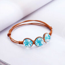 Handmade Vintage Real Dry Flower Glass Ball Weave Grass Adjustable Bracelet Good