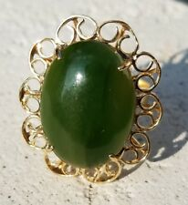 Estate 14K Yellow Gold Green Jade Solitaire Ring-Size 6.75-585-12.15Ct Cabochon