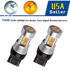 2x Dual Color Switchback 7443 7440 Amber White 20LED Bulbs Turn Signal Light
