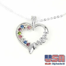 """925 Silver Plated CZ Cubic Crystal Heart MOM Mother Pendant Necklace 18"""" N56"""
