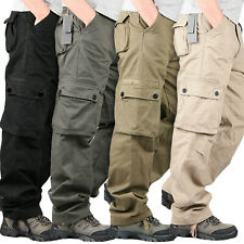 Mens Military Army Combat Straight Trousers Multi Pockets Solid Long Cargo Pants