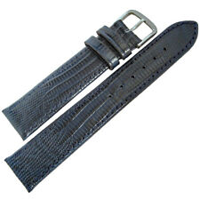18mm Fluco Emporio German Made Blue Teju Lizard-Grain Leather Watch Band Strap