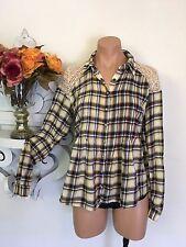 Free People Plaid Flannel Snap Button Crochet Lace LS Button Down Top Shirt XS