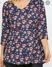 BNWT Joe Browns Navy Xmas Owl Print Stretch Tunic Swing Top Size 24 RRP £31