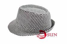 New Women Fashion Gangster Grids Fedora Bucket Hat Cap Trilby Crusher Panama