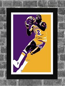 Los Angeles Lakers Magic Johnson Portrait Sports Print Art 11x17