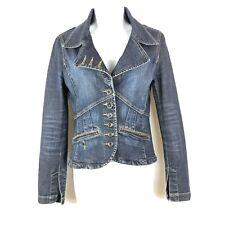 Mexx Womens Jean Blazer Denim Indigo Blue Cotton Blend Size UK 8