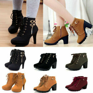 Winter Women's Boots Lace Up Platform High Heel Shoes Short Ankle Roman Boots
