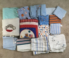 Lot of 15 Baby Blankets/Swaddles Mostly Boy Colors/Patterns, Lightweight & Heavy