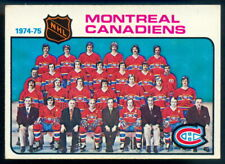 1975-76 OPC O PEE CHEE #90 MONTREAL CANADIENS TEAM CARD EXNM MARKED W KEN DRYDEN