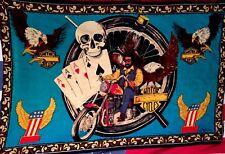 Vtg Harley Davidson Jack Daniels Flag Tapestry Biker Skull Cards Eagle Pool RARE