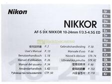 Manuale cartaceo originale per Nikon AF-S DX Nikkor 10-24mm f3,5-4,5 G ED