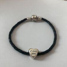 Genuine Pandora Black Leather Charm Bracelet with Clasp