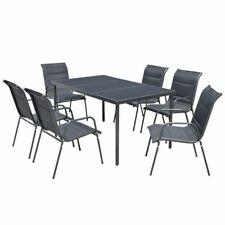 vidaXL Outdoor Dining Set Table and Chairs 7 Piece Textilene Patio Furniture