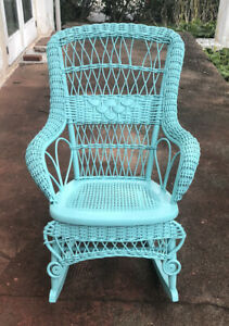 Antique Victorian Refinished Wicker Rocking Chair Caned Seat