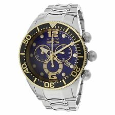 New Mens Invicta 14201 Lupah Diver Blue Dial Steel Bracelet Chronograph Watch