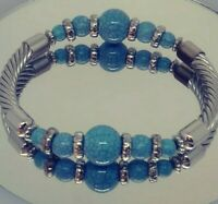Turquoise Faux Blue Silver Tone Curved Twist Tube Beads Stretch Bracelet