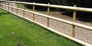 post and rail fencing kit you get 2 half round 6ft stakes + 3 10ft rails