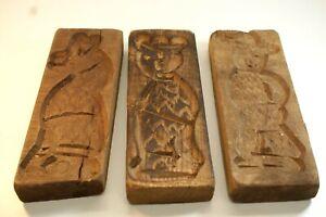 CM-2, Lot of 3 Vintage Wooden Cookie Molds, Hand Carved, Primitives, 8 X 3 in