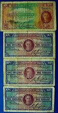 More details for malta 1940-43 issue 3 x shilling & two shilling banknotes    ch13-137