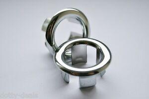 Bathroom Basin Ceramic Sink 1x Open Hole Overflow Cover Chromed Trim 25-26mm