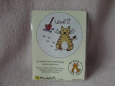 MOUSELOFT STITCHLETS CROSS STITCH KIT ~ BISCUIT THE CAT ~ WHAT!? PAWPRINTS ~ NEW