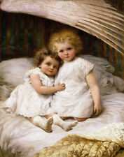 Oil painting lovely little girls children sisters twins on bed Hand painted canv