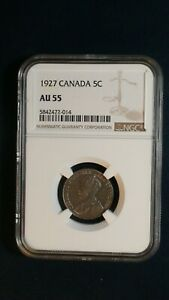 1927 Canada Nickel NGC AU55 ABOUT UNCIRCULATED 5C Coin PRICED TO SELL RIGHT NOW!