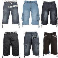 New Mens Designer Enzo Cargo Combat Big Branded Denim Shorts Bermuda Pants 28 48