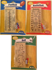 3-Pack Wood Travel Peg Game with Pegs and Dices - Football, Basketball, Golf