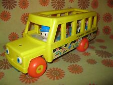 Vintage Années 70s 80s FISHER PRICE BIG YELLOW BUS +7 FIGURINES School Car Jaune