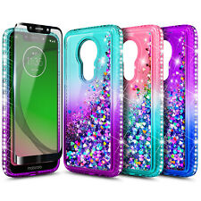For T-Mobile REVVLRY Case Liquid Glitter Bling Cover + Tempered Glass Protector
