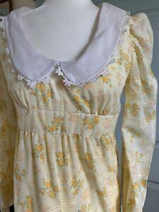Vintage Yellow Hippie Dress ~ Floral ~ Prairie ~ Mod ~ Peter Pan collar ~ Maxi