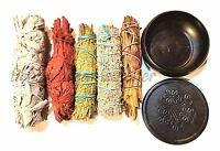 SET of 5 Sage Smudge Stick SAMPLER and Black Pot Burner, White, DRAGON, Cedar +