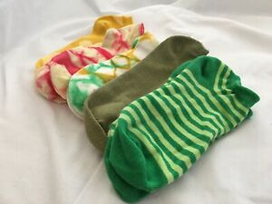 Women's No Show Socks Size 7-9 Green, Yellow, Pink (set of 5 pairs) NWOT