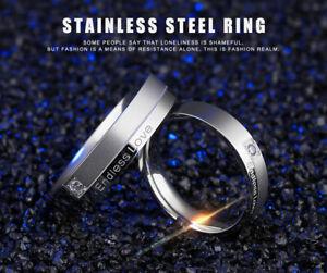 """1pc Titanium Steel Unisex """"Endless Love"""" Shiny Crystal Wedding Band Ring UK K-U"""