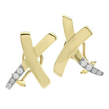 "vintage 1984 tiffany & co. paloma picasso ""x"" diamant ohrhänger in 18k gold 