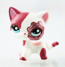 Littlest Pet Shop LPS #2291 Pink White Sparkle Glitter Short Hair Cat Blue Eyes