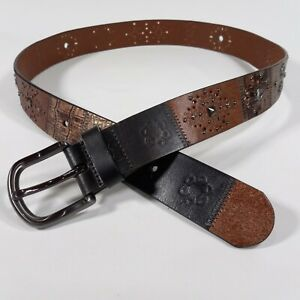 Fossil Leather Belt Large 38 Patchwork Flower Concho Studded Brown BT3180016