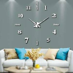 Silver DIY Large 3D Numerals Wall Clock Surface Mirror Sticker Home Office Decor