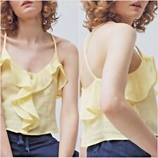 SALE Yellow Frilled Ruffle Crop Top Size S M L UK 8 10 12 US 4 6 8 Zara Blogger❤