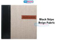 "Black Stripe Beige Fabric 200 Pocket 6"" x 4"" Natural Style Photo Picture Album"